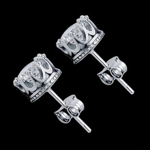 2017 New Style Fashion Jewelry Gold Silver Plated Earrings Stud Women Men Crown Zircon Crystal Double Stud Earrings E125