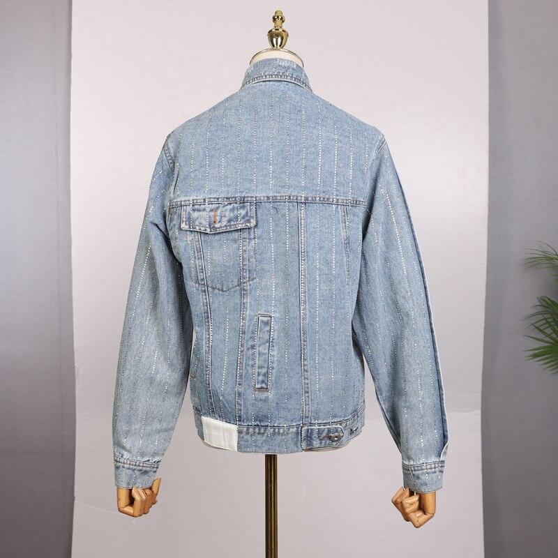 Femme Rayé Veste Toutes Jeans Court Blue Top Mince Poitrine Z Denim zoux Manteau Sélections Unique Femmes Les Forage qZw7gRY