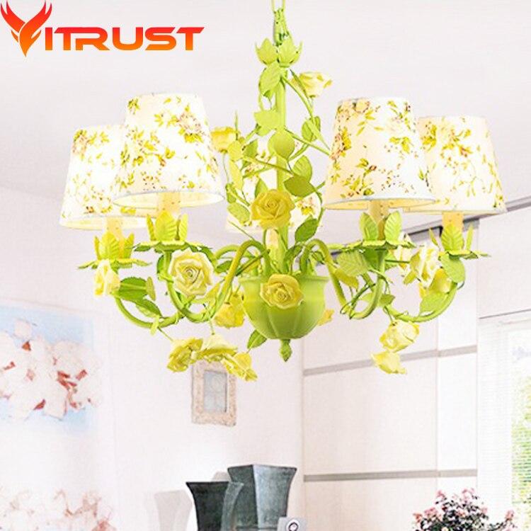 3,5, 6,8 bras lustres en fer forgé lustres créatifs fleurs vert pour enfants éclairage à la maison lustre en fer créatif