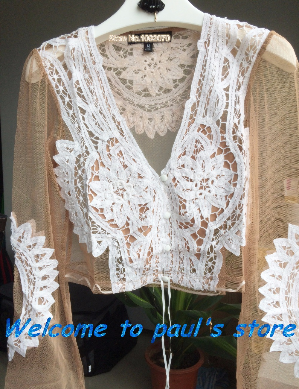 4df3efd6c68fa Aliexpress.com   Buy Women love penelope crop top girls nude tulle crochet  applique ivory tops floral see through little lemon blouse nude top from  Reliable ...