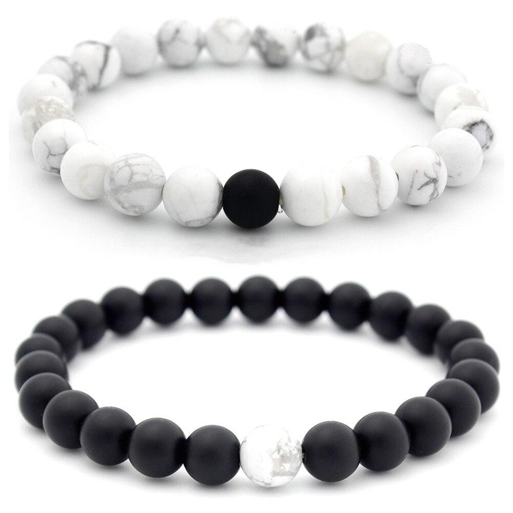Charm Couple Bracelet 8mm Black White Natural Lava Stones Beads Beaded Bracelets Bangles For Men Women Jewelry Pulseras