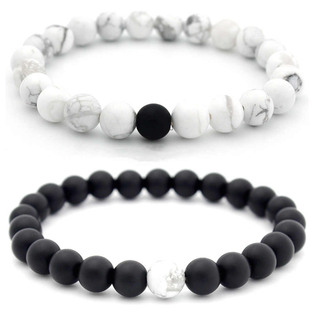 Charm Couple Bracelet 8mm Black White Natural Lava Stones Beads Beaded Bracelets Bangles For Men Women Jewelry Pulseras