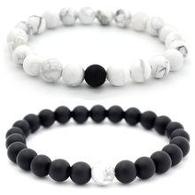 Charm Couple Bracelet 8mm Black White Natural Lava Stones Beads Beaded Bracelets Bangles For Men Women Jewelry Pulseras(China)