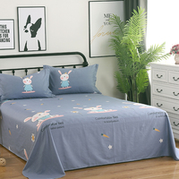 3pcs Fashion cartoon stgle gray flat sheet pillow case 100% cottone Lovely rabbit sheet home textile twin full size adult/kids
