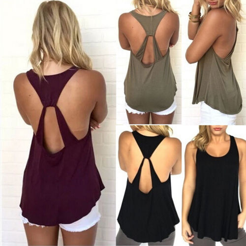 2019 Mode Itfabs Heißer Sommer Frauen Ärmellose Backless Low Cut Cami T T-shirt Stilvolle Tank Top Weste