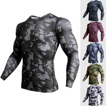 Crossfit Compression Sports Shirt Men Long Sleeve Camouflage Fitness 3D Quick Dry Men's Running T Shirt Gym Clothes Top Rashgard