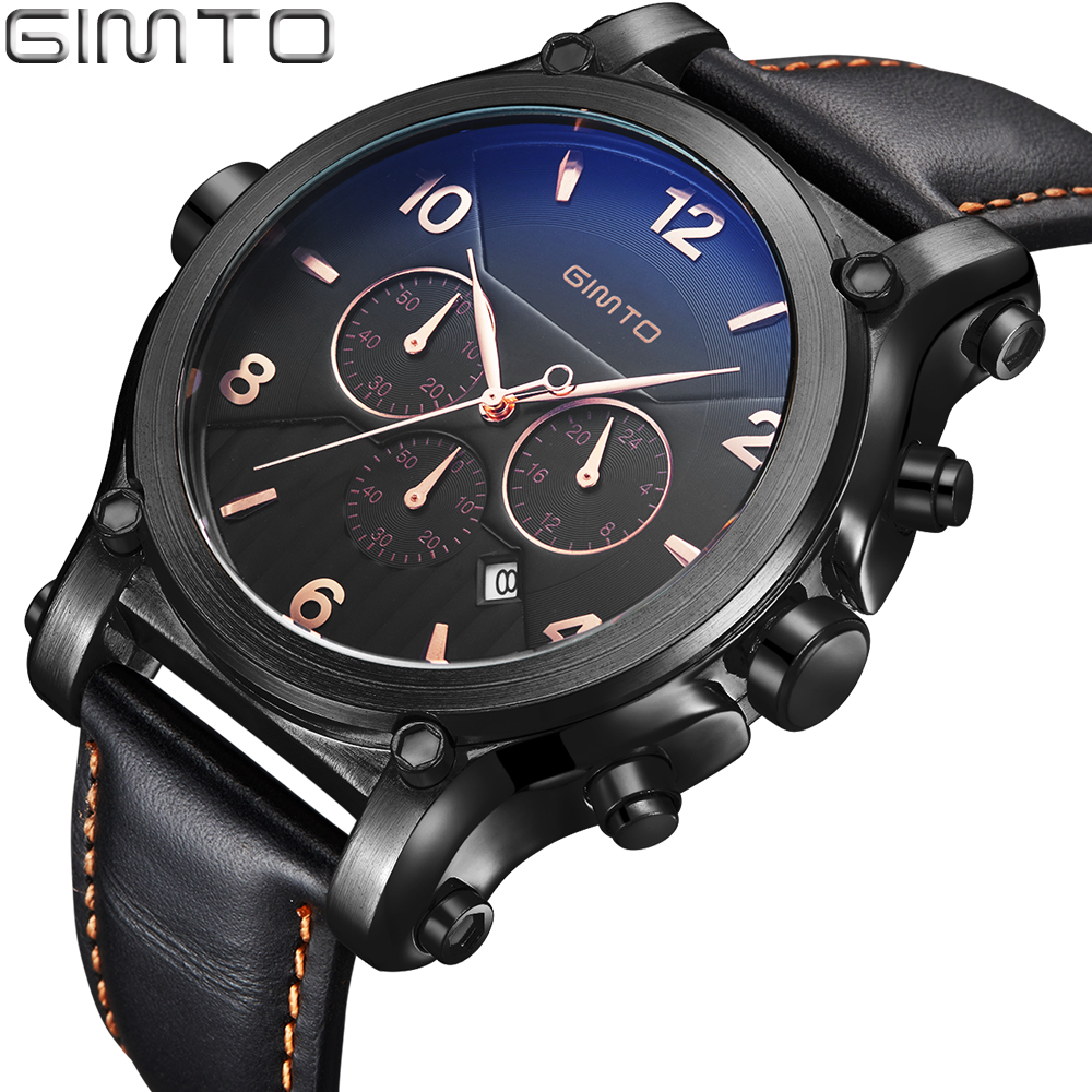 2016Top Brand GIMTO Sport Watch Men Leather Strap Carlendar Military Male Watches Analog Quartz Watch Clock Reloj Hombre Relogio