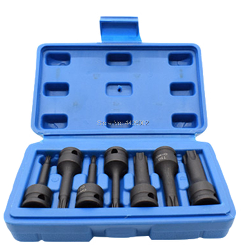 t20-t60 Strong Packing Humble 7pcs Impact Spline Bit Socket Set Lentgh 60mm 3/8 Inch Square Spline Bit Impact Socket Set T20 T25 T30 T40 T50 T55 T60