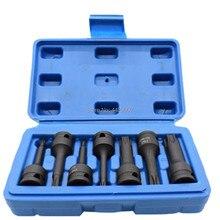 7pcs Impact Spline Bit Socket Set Lentgh 60mm 3/8 inch Square Spline Bit Impact Socket Set T20 T25 T30 T40 T50 T55 T60 (T20-T60)