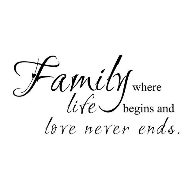 Familie Waar Leven Begint Liefde Nooit Ends Familie Muur