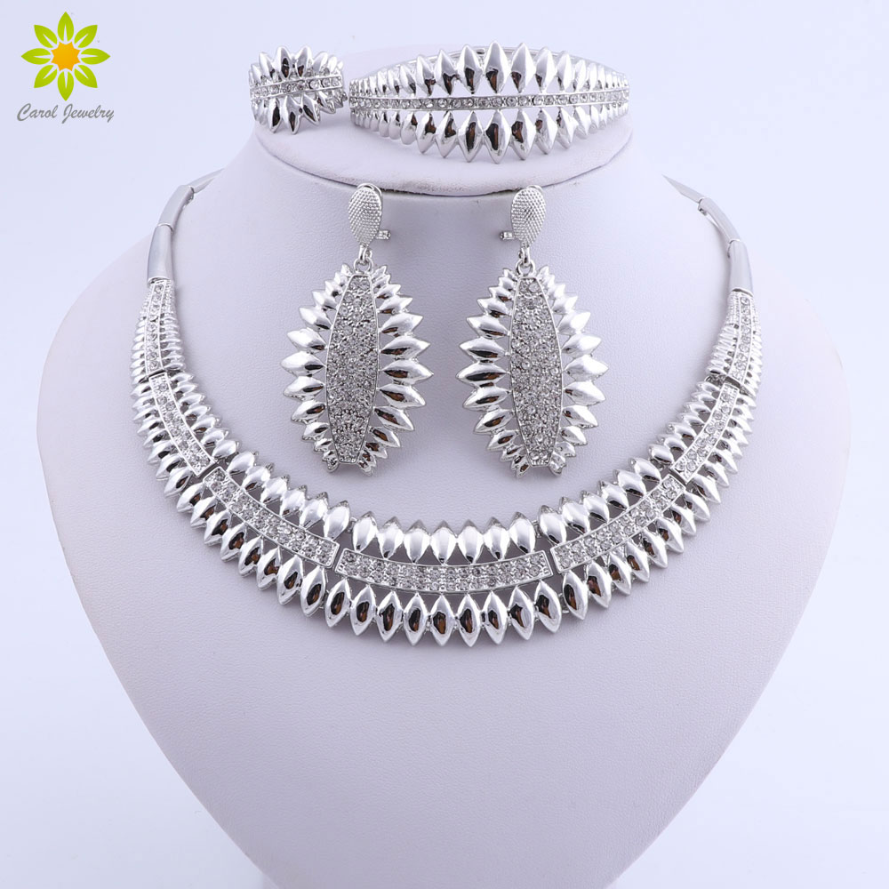 Fashion Woman Necklace Earring Ethiopian Jewelry Trendy Dubai Indian Silver Plated Wedding Jewellery Set