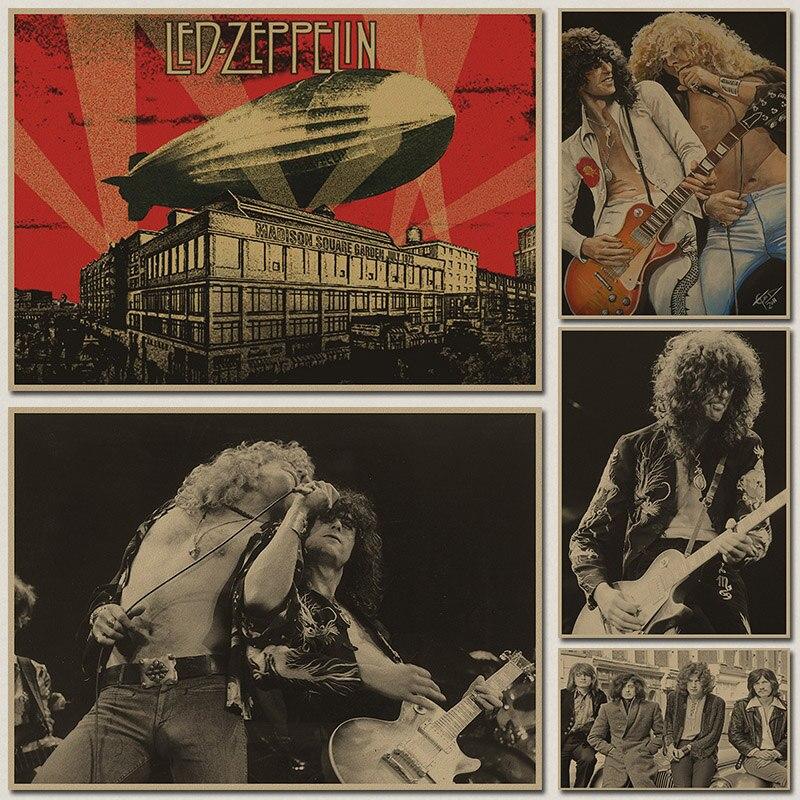 Rock band Led Zeppelin poster retro nostalgia kraft paper wall sticker vintage poster