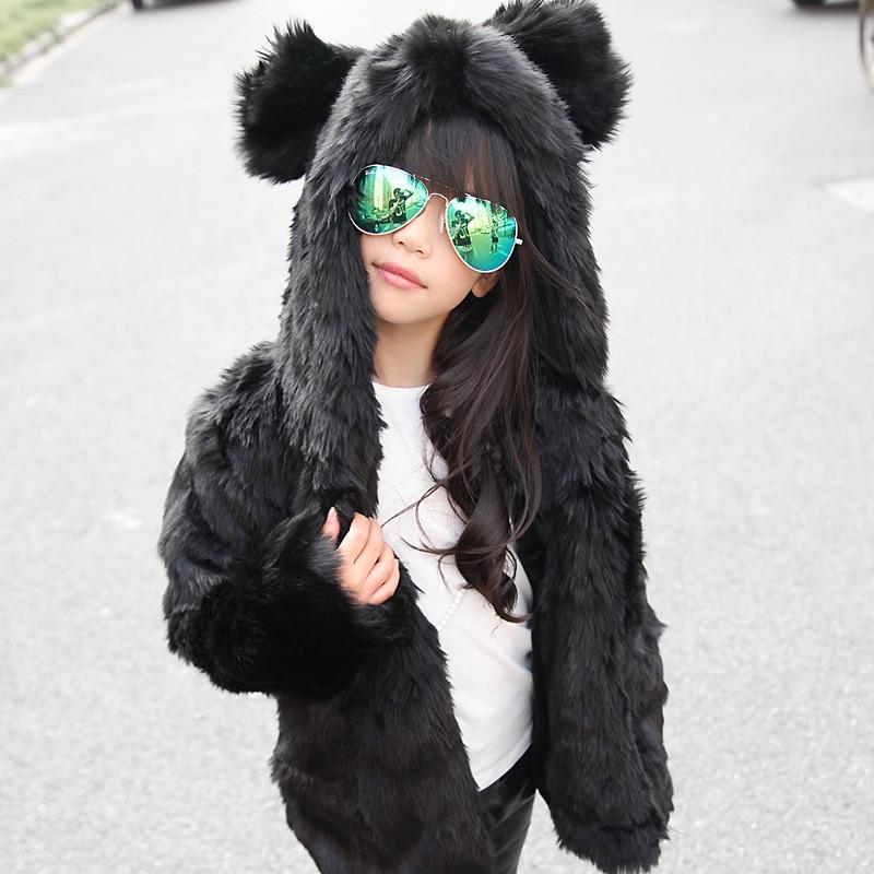 Hooded Winter Fur Jacket Girls European Style Fur Coat -3365