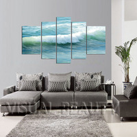 FREE SHIPPING Oil Painting Ocean Wave 5 Panel Canvas Art Print On Canvas Art Painting Unframed