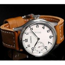 47 мм parnis белый циферблат 6497 механические ST ручной коричневый кожаный ремешок мужские часы P89