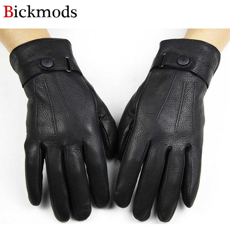 Deerskin Gloves Men Thick Autumn And Winter Warm Stripes Button Style Outdoor Ride Driving Leather Finger Gloves