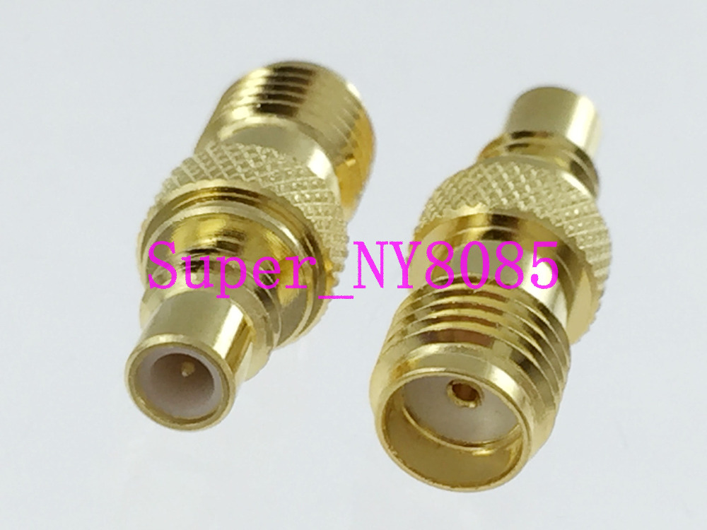 SMC female jack to SMA female jack RF coaxial adapter connector gold-pleated
