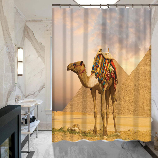 WHQ Desert Camel Print Modern Shower Curtain Bath Curtains Bathroom Cortina Waterproof 100 Polyester Bathing Cover With Hooks