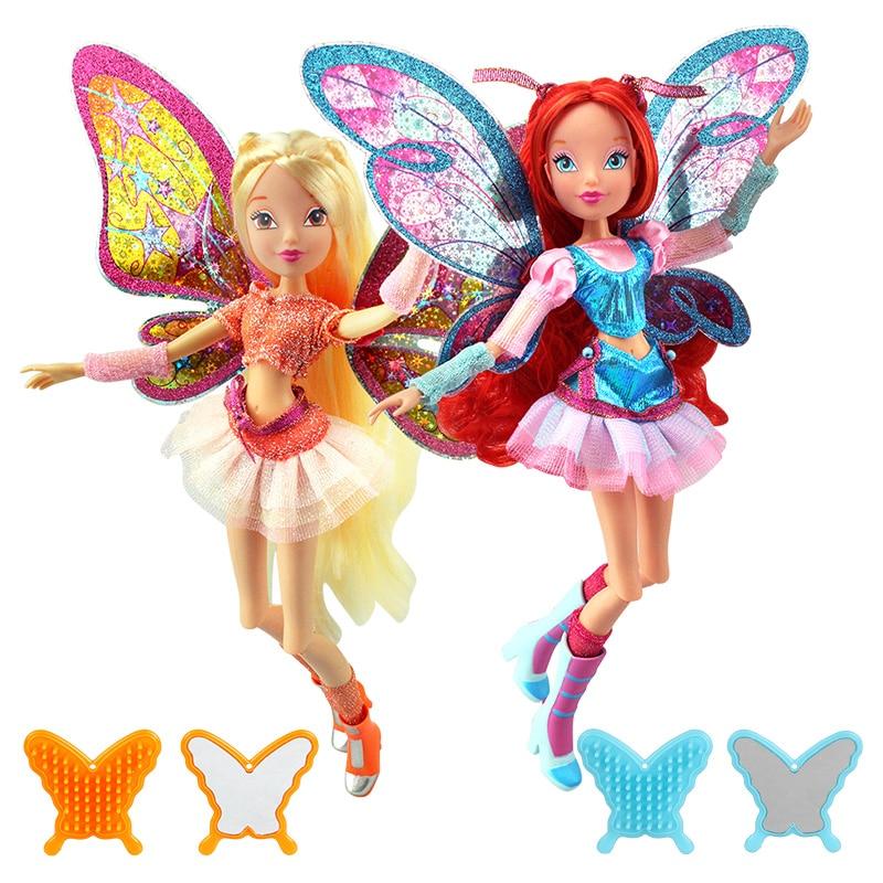 hračka víla květ - Believix Fairy Winx Club Doll rainbow colorful girl Action Figures Fairy Bloom Dolls with Classic Toys For Girl Gift