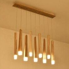 Деревянная подвеска с бруском свет лампы, кухня Остров гостиная магазин украшения современный прикроватный натуральный дерево потолочная лампа