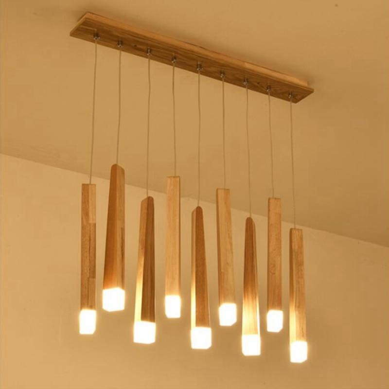 Wood Stick Pendant Lamp Light, Kitchen Island Living Room Shop Decoration Modern Bedside Natural Wood Pipe Pendant Lights
