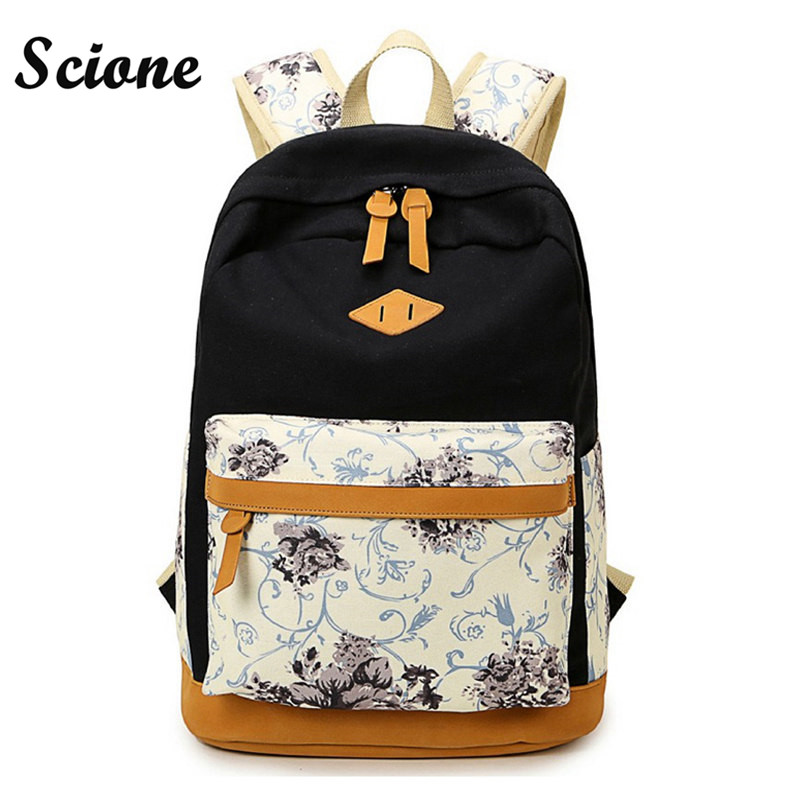 Scione Nubuck Leather Backpack Canvas School Backpacks Schoolbags for Teenage Girls Student Flower Printing Back Pack