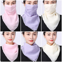 Female Variable Silk Scarf Small Neck and Ear-hanging Summer Sunscreen Mask Face and Neck Shield Female Face Shield Scarf
