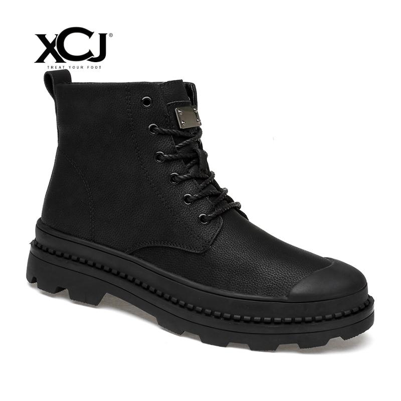 Genuine Leather Men Shoes Brand Winter Boots Winter Shoes Men Flats Casual Shoes Warm Plush Spring Autumn Plus Big Size XCJ