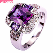 JROSE Engagement Emerald Cut Amethsyt  White Topaz Silver Ring Size 7 8 9 10 Free Shiping Party  Charming Gift Wholesale Jewelry