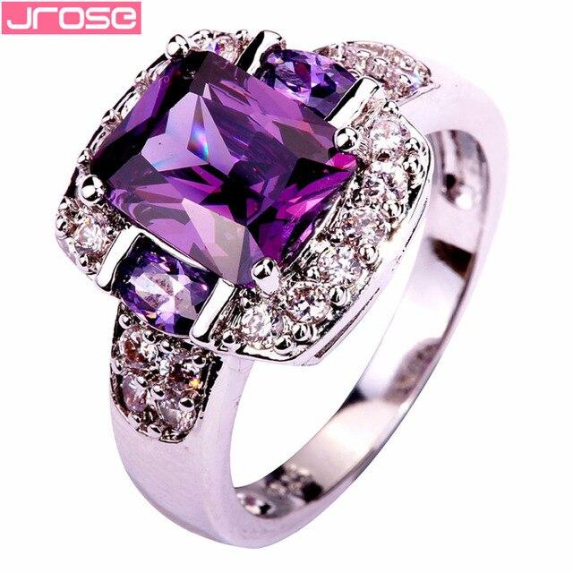 JROSE Fidanzamento Viola e Bianco CZ di Colore Argento Ring Size 6 7 8 9 10 11 1