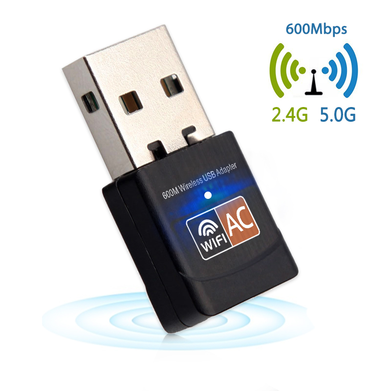 USB WiFi Adapter Network Card USB Lan Ethernet Wi-Fi Receiver 600Mbps Wireless Adapter AC Dual Band 2.4G+5.8Ghz USB WiFi Antenna