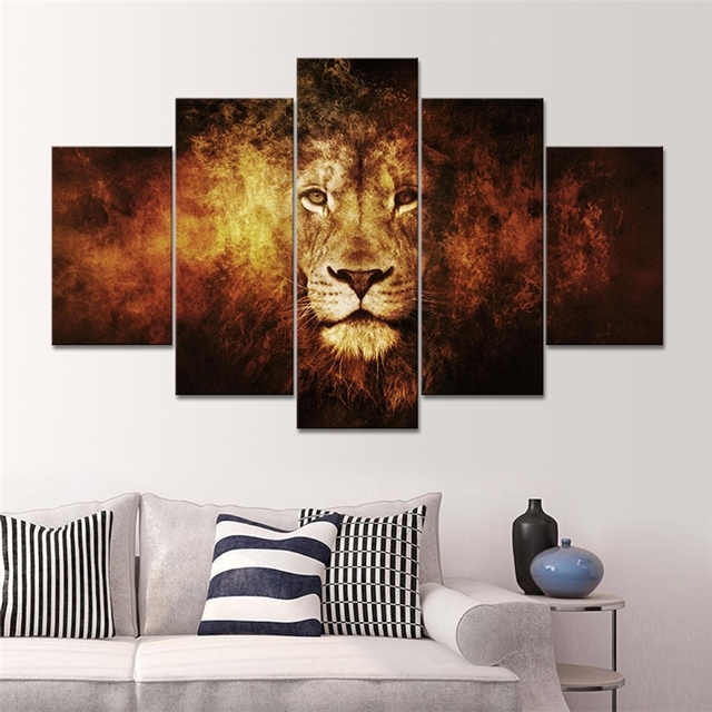 2017 Rushed Free Shipping 5 Panel Wall Art For Lion Oil Painting On Canvas  Large Hanging