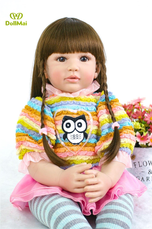 DollMai Reborn vinyl silicone baby dolls 24 60cm Lifelike real princess toddler girl doll child gift