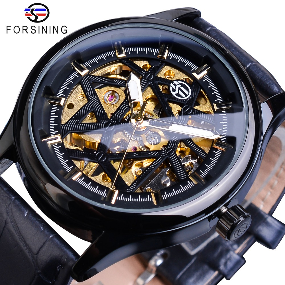Forsining Black Golden Retro Luminous Hands Fashion Mens Mechanical Skeleton Leather Wrist Watches Top Brand Luxury Clock MontreForsining Black Golden Retro Luminous Hands Fashion Mens Mechanical Skeleton Leather Wrist Watches Top Brand Luxury Clock Montre