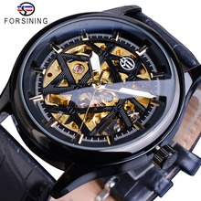 лучшая цена Forsining Black Golden Retro Luminous Hands Fashion Mens Mechanical Skeleton Leather Wrist Watches Top Brand Luxury Clock Montre