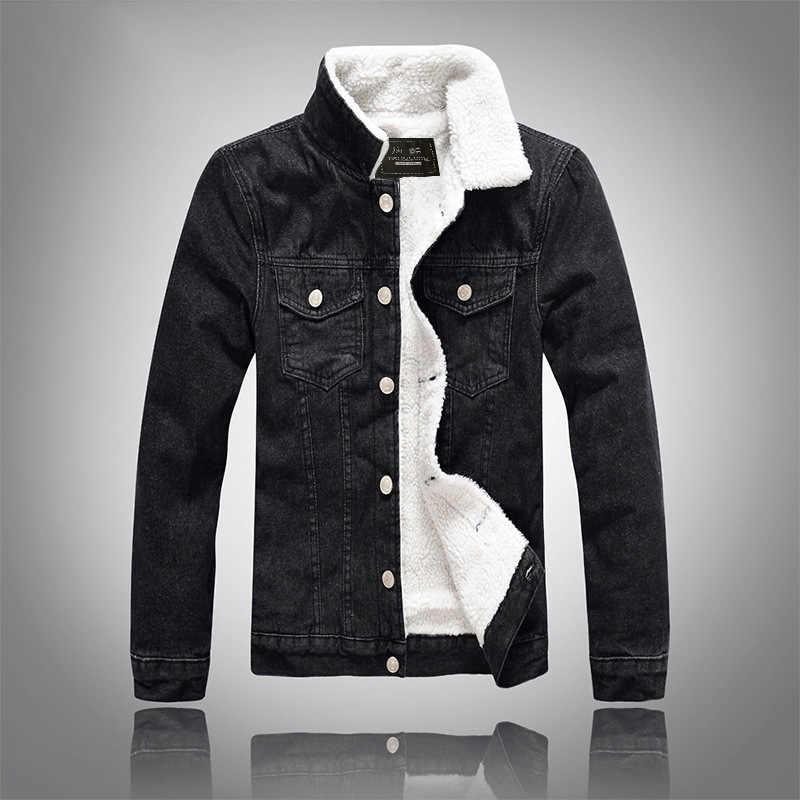 e08af2fab785 Detail Feedback Questions about NJIANJEEP 2018 High Quality Denim Jacket Men  Winter Black Male Bomber Jacket Fashion Men Jacket Plus velvet Leisure coat  5xl ...