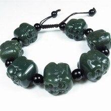 Dark Green 100% Natural Hetian Jade Bracelet Carving Buddha Head Beads Women Mens Gift Bracelets Nephrite Qing Jades Jewelry