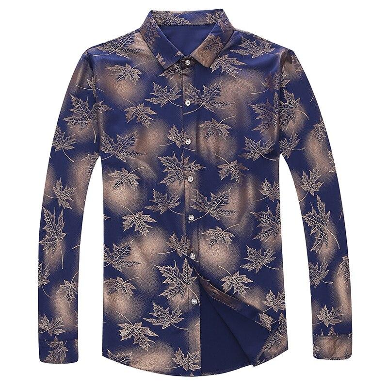 MIACAWOR Original Men Shirt Fashion Print Dress Shirt Slim Fit Camisa Masculina Full Sleeve Casual Men Shirt C413 2