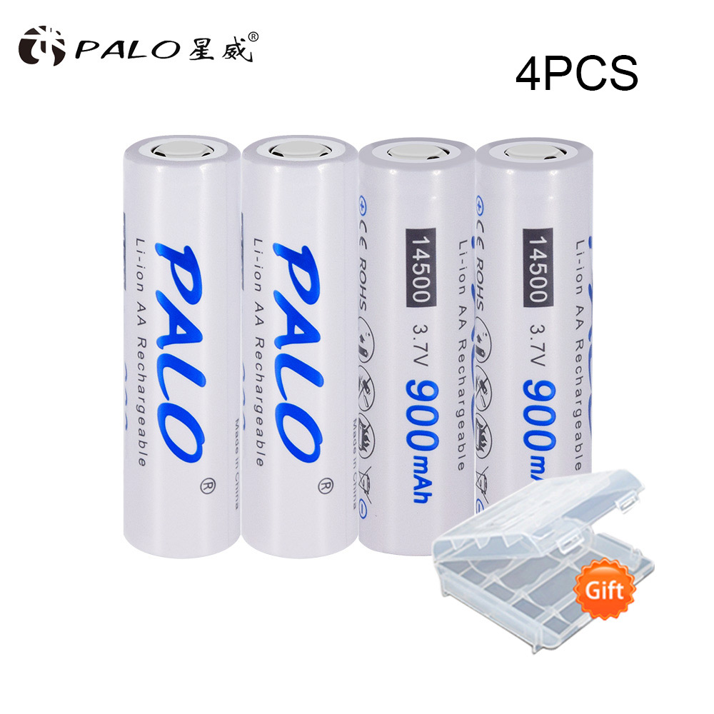 PALO 2PCS/Lot AA <font><b>14500</b></font> <font><b>Li</b></font>-<font><b>Ion</b></font> <font><b>Battery</b></font> Original 3.7V 900mah lithium Rechargeable <font><b>14500</b></font> <font><b>Batteries</b></font> For Energy Saving Flashlight etc image