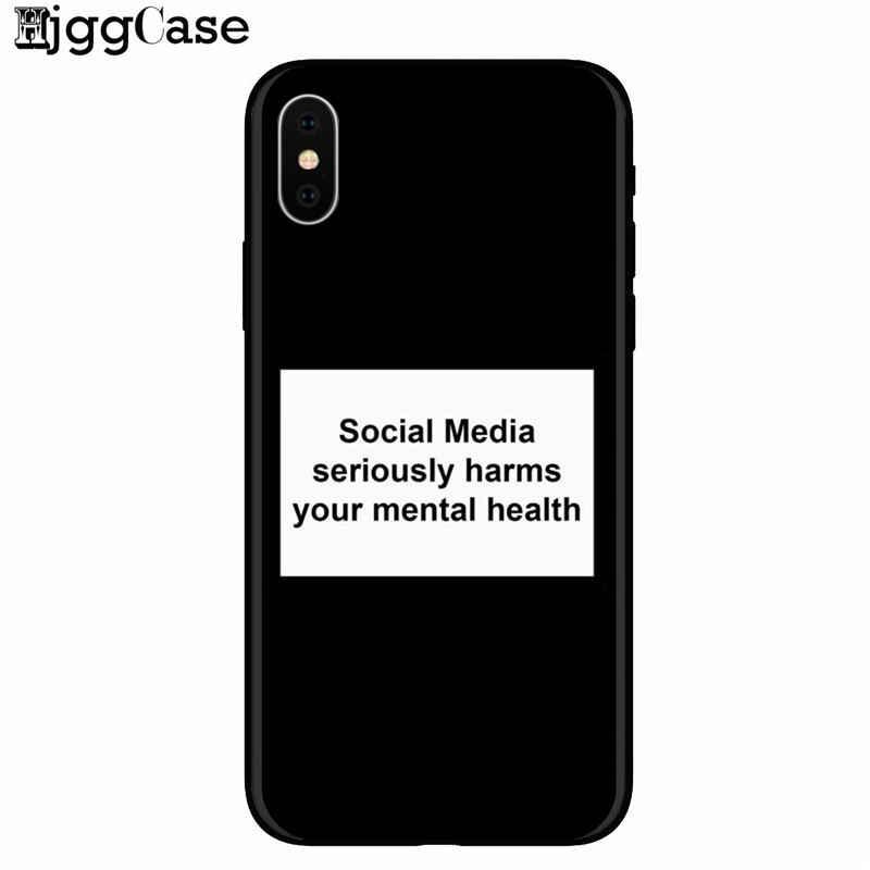 وسائل الاعلام الاجتماعية بجدية جراب هاتف الأضرار الصحية العقلية الخاصة بك ل iphone 6s 8 7 زائد 5 ثانية SE X XS ماكس XR غطاء ل huawei P9 P10 P20
