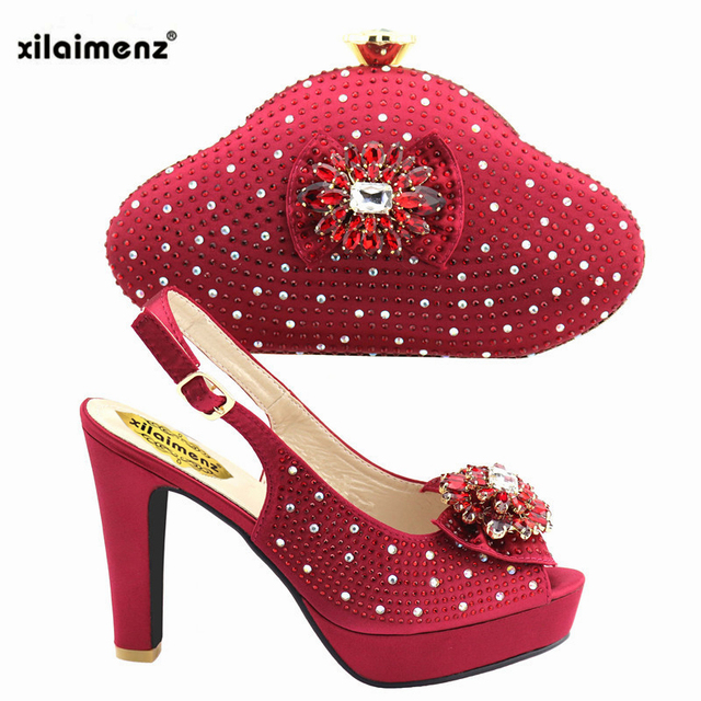 2019 Wine Color African Women Shoes And Bag Set With Rhinestones Pumps Italian Shoes With Matching Bag For Evening Party Wedding