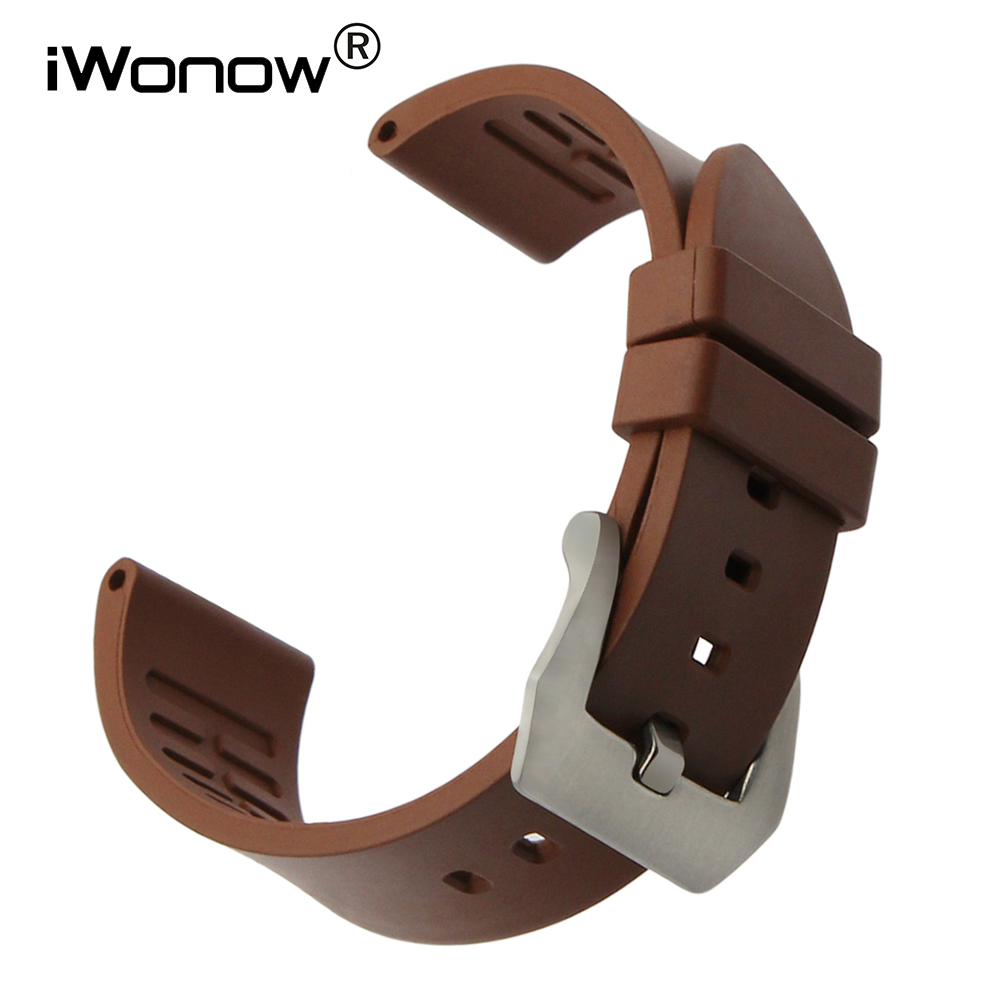 22mm 24mm Fluororubber Watchband for Maurice Lacroix Hamilton Diesel Fossil Rubber Watch Band Stainless Steel Buckle Wrist Strap maurice lacroix el1094 pvp06 150 1