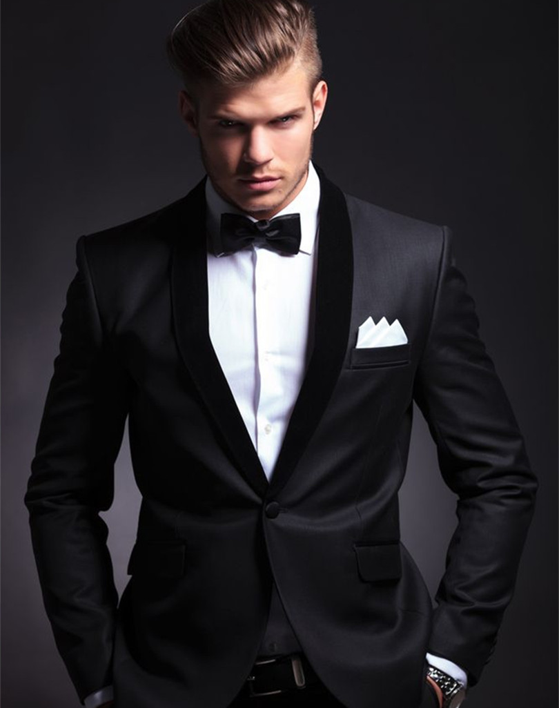 custom made groom tuxedos men wedding suit 2015 black suits two piece wool - yan xiong's store