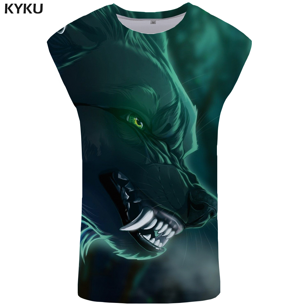 KYKU Brand Wolf Tank Top Men Green Ftness Clothing Sex Mens Bodybuilding Vest Stringer Undershirt Sleeveless Shirt Tops Funny