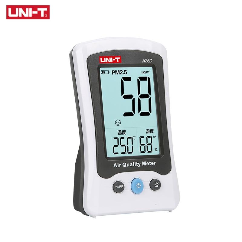 UNI-T A25D PM2.5 Testers Monitor de Qualidade Do Ar Faixa de Medição Metros Detector de Formaldeído Auto Gás Umidade Temperatura Monito