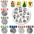 1 Pc BORN PRETTY Xmas Floral Round Nail Stamping Plates Template Flower Christmas Wave Line Nail Stamp Image Plate 5.5cm