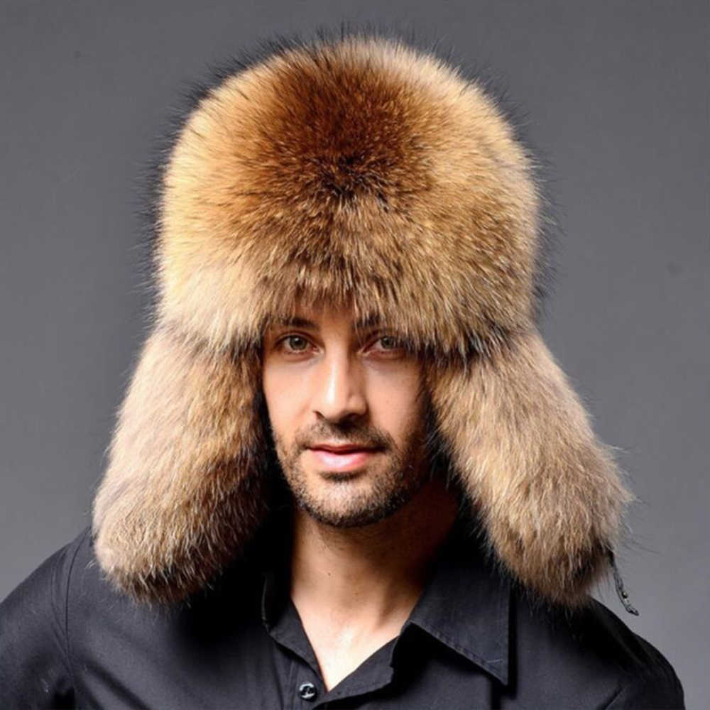 Russian Men Lamb leather bomber Faux Raccoon Fur hat winter hats with earmuffs trapper earflap Ski Outdoor cap man black hat
