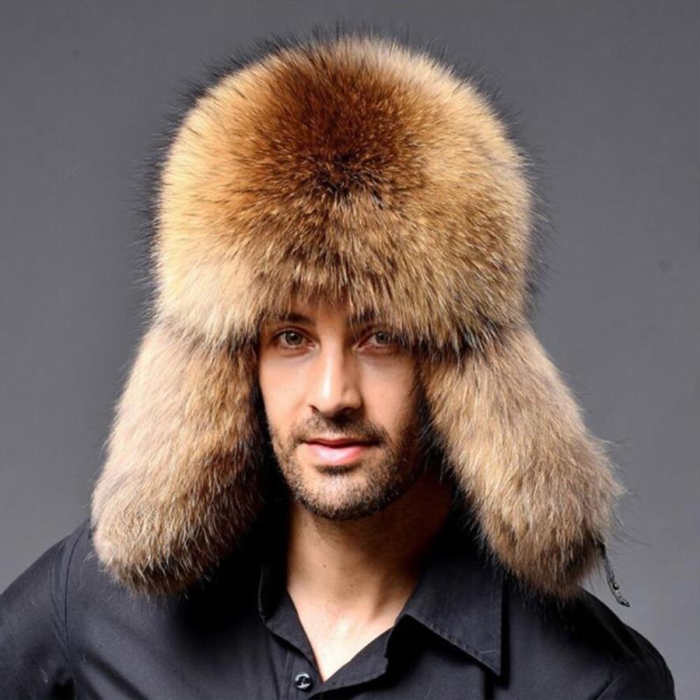 Russian Men Lamb Leather Bomber Faux Raccoon Fur Hat Winter Hats With Earmuffs Trapper Earflap Ski Outdoor Cap Man Black Hat
