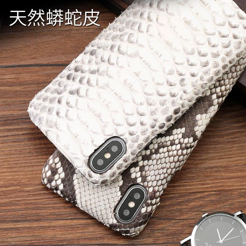 Cuir peau de python couverture arrière pour iPhone x étui peau de python étui de téléphone personnalisé haut de gamme pour iPhone 6 s 7 8 plus - 5