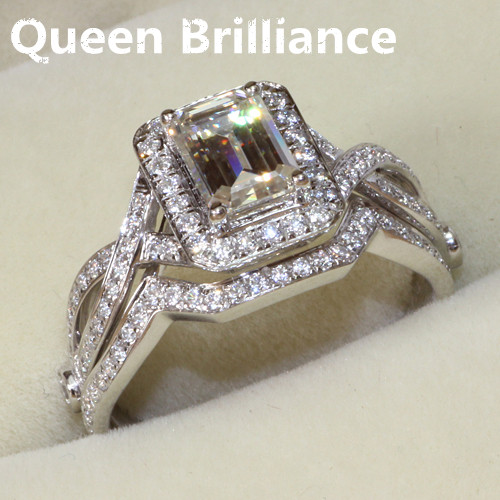 Queen Brilliance 1 Carat Emerald Cut Halo Engagement Lab Grown Moissanite Diamond Ring Set Genuine 14k 585 White Gold
